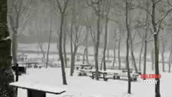 Nevicata ad Acerno: il video dell'area campeggio Il Capanno