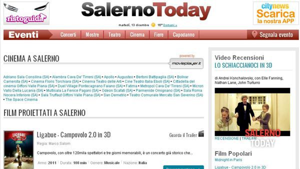 La pagina programmazione cinema di Salerno Today